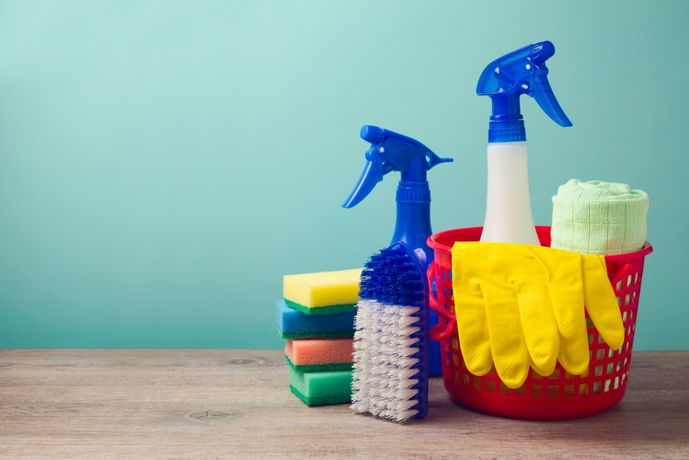 a collection of cleaning products for spring cleaning