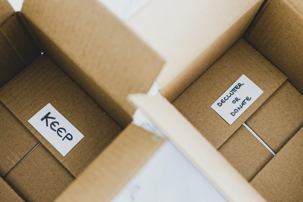boxes for decluttering or keeping clothes